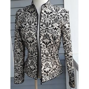 Jackets & Blazers - Anthracite NJAL Black and White Brocade Blazer, 4